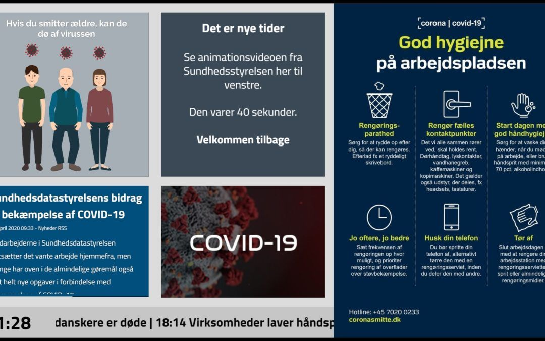 Anvend jeres infoskærme til Covid-19 vejledning